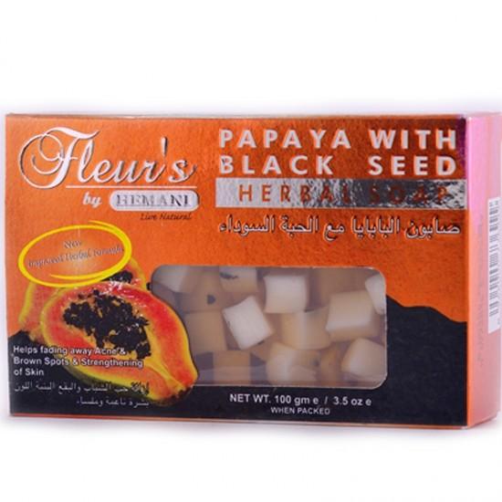 Fleurs Papaya With Black Seed Herbal Soap -100g