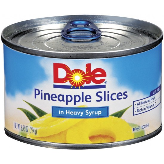 Dole Pineapple Slices In Heavy Syrup -8.25oz